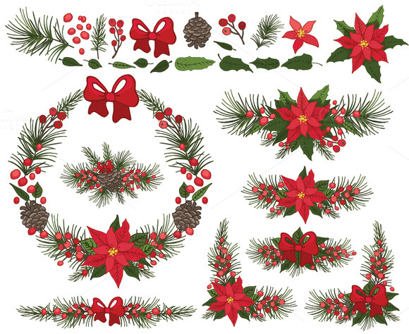 Christmas Poinsettia Wreath Group