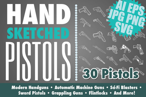 Hand Drawn Pistols Handguns