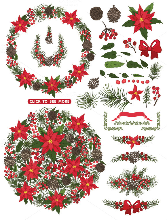 Christmas Poinsettia Wreath Group2