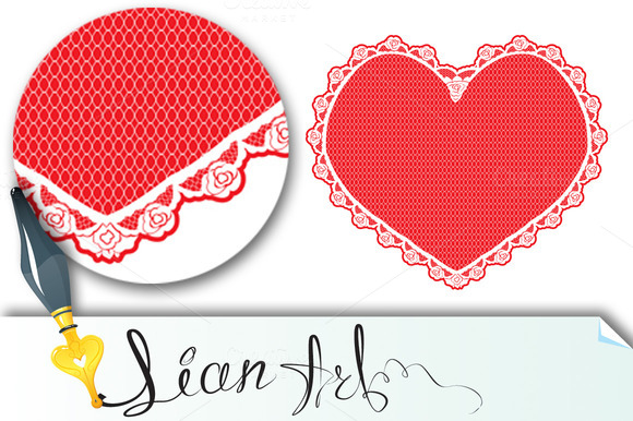 Heart Shape Lace Doily White On Red