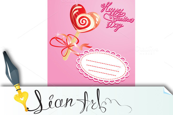 Valentines Day Card With Heart Candy