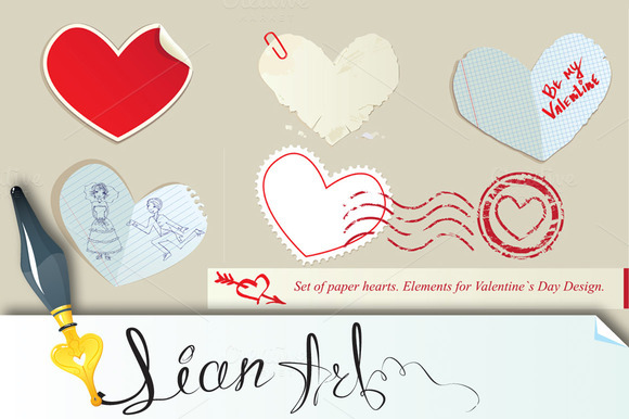 Set Of Paper Hearts