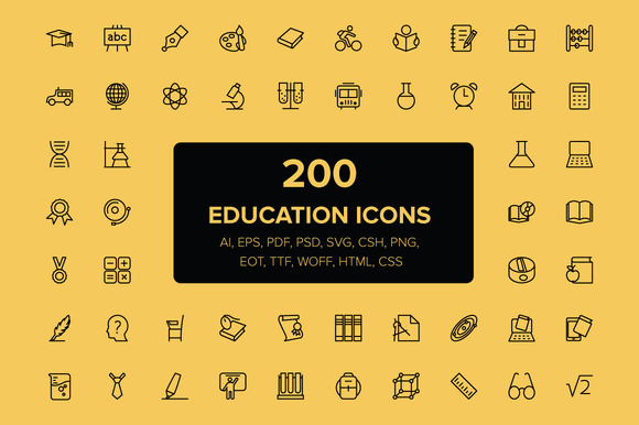 200 Education Icons