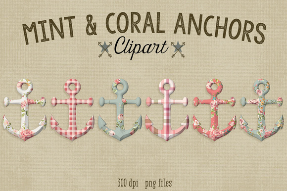 Mint Coral Anchors-Commercial Use