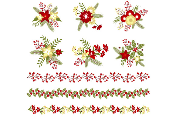 Christmas Bouquets Borders