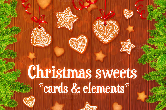 Set Of 10 Vector Christmas Elements