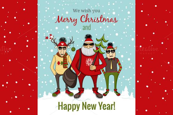 Funny Santa Deer And Elf