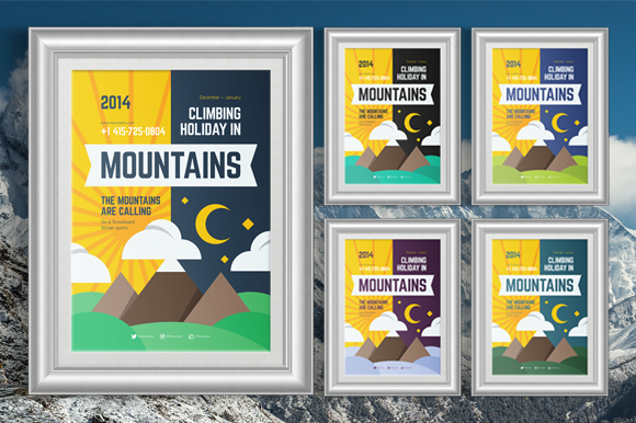 Mountain Climbing Poster Template