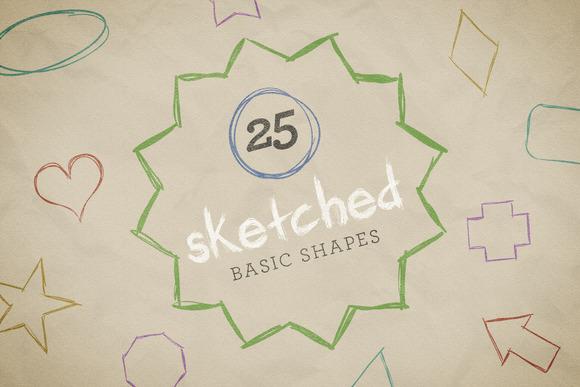 Sketched Basic Shapes Vector Pack 1
