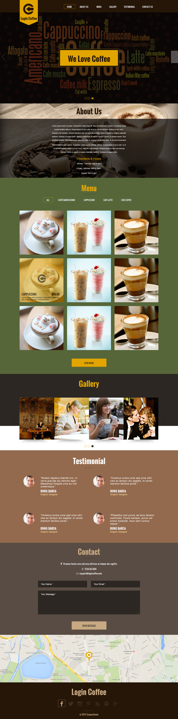 Login Coffee One Page Template