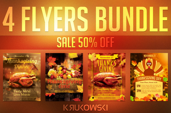 Thanksgiving Flyer Templates Bundle