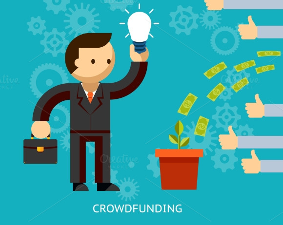 Businessman Being Crowd Funded