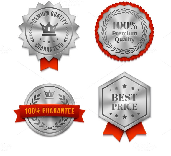 Silver Metallic Quality Badges