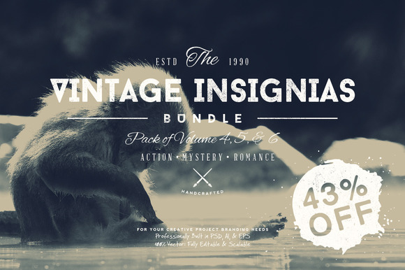 33 Trendy Vintage Insignias Bundle 2