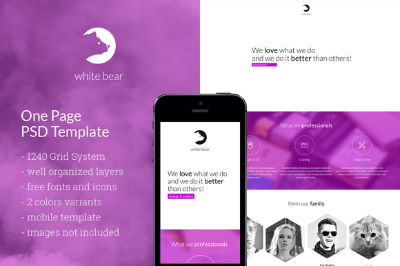 White Bear One Page PSD Template