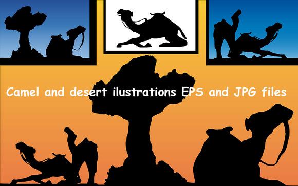 Camel And Desert Vectors