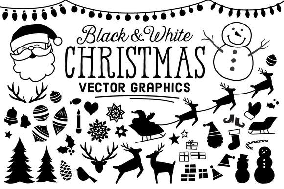 B W Christmas Icons
