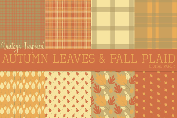 Vintage Leaves Plaid Digital Paper