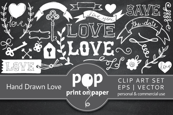 Hand Drawn Love 65 Vector Icons