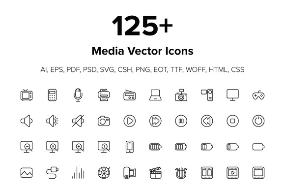 125 Media Icons