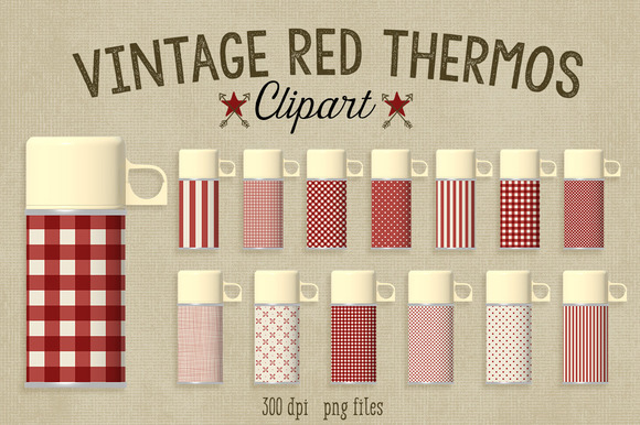 Vintage Red Thermos~Commercial Use