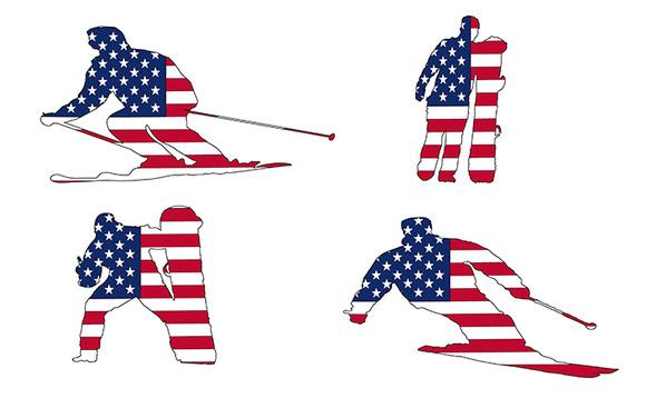 Usa Flag Ski And Snowboarders