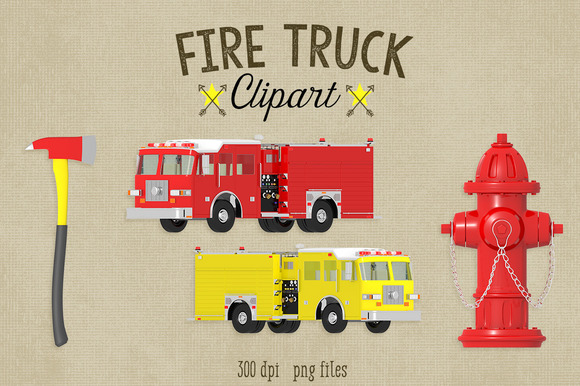 Fire Truck Clipart~Commercial Use