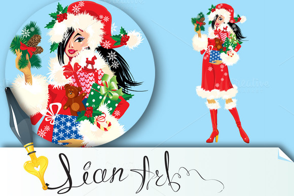 Christmas Girl Wearing Santa Costume
