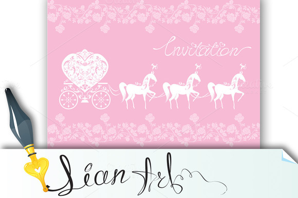 Pink Greeting Card Wedding Invitat