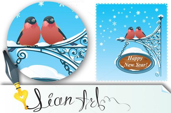 2 Bullfinches Happy New Year Card