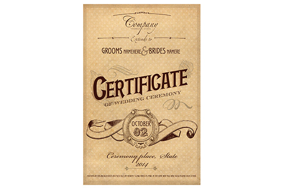 Vintage Wedding Certificate Psd