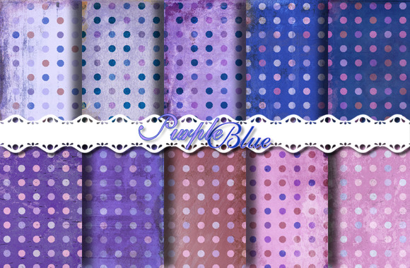 Blue Purple Polka Dot Papers