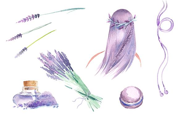Watercolor Lavender Clipart Set
