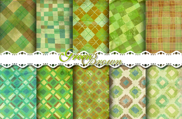 Green Brown Chacked Pattern