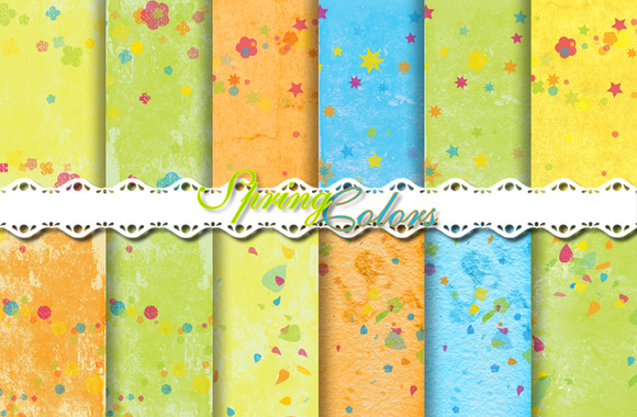 Spring Colors Pattern Papers