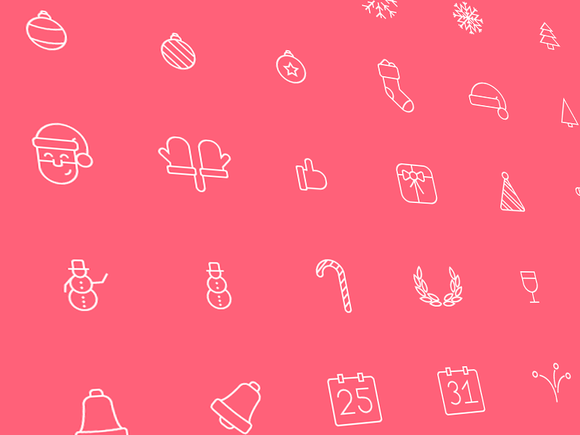 70 Outline Christmas Icons