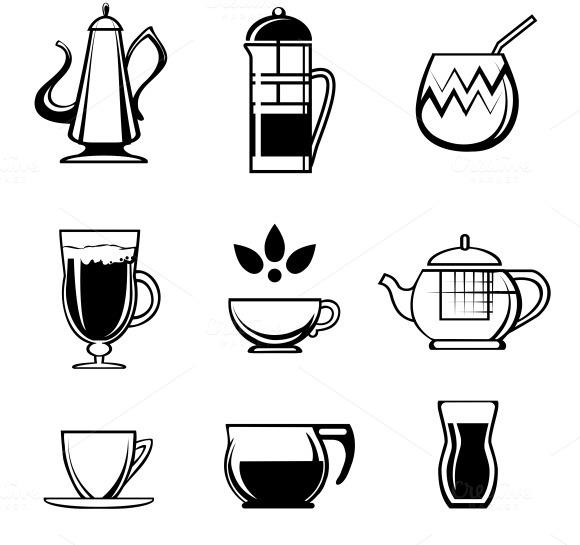 Tea Coffee Or Chocolate Drink Icons