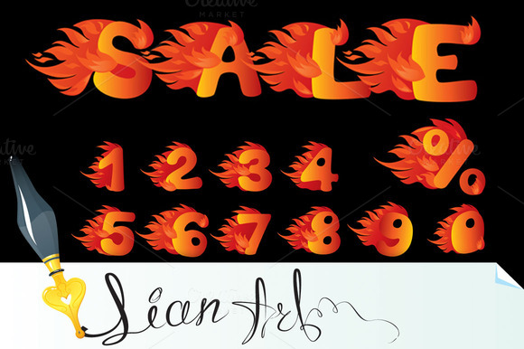 Flaming Numbers And Word SALE