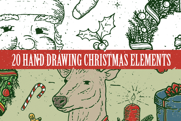 20 Hand Drawing Christmas Elements