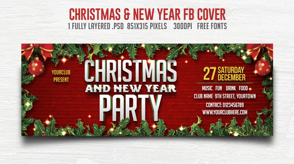 Christmas New Year Party FB Cover