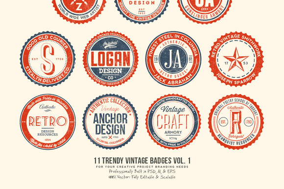 11 Trendy Vintage Badges Volume 1