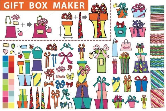 Gift Box Maker Flat Doodle Set1