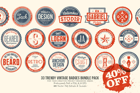 33 Trendy Vintage Badges Bundle Pack