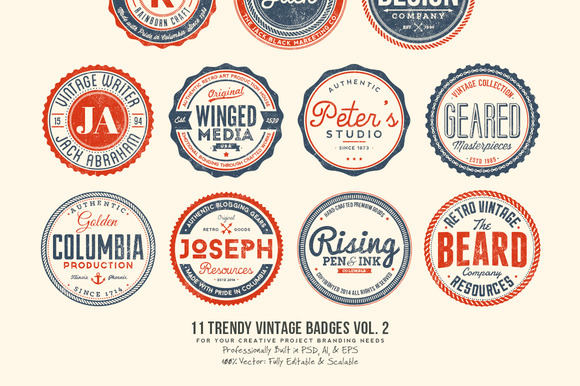11 Trendy Vintage Badges Volume 2