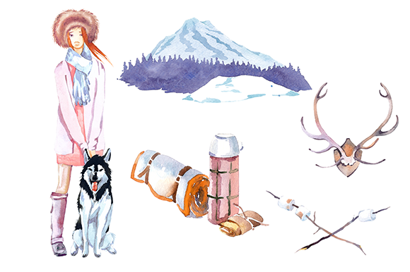 Winter Camping Watercolor Clipart Se