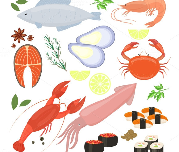 Seafood Shrimp And Sushi Icons