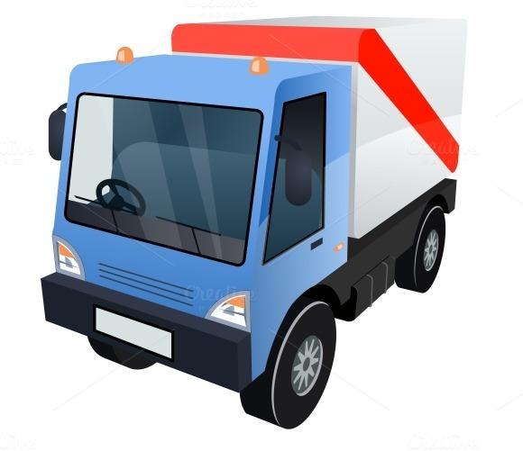 Cargo Truck On White Background