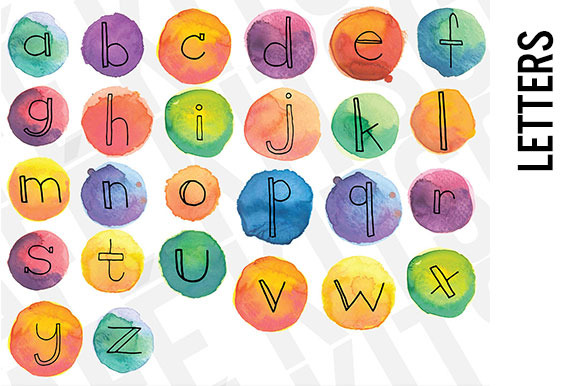 Watercolor Letters Lowercase