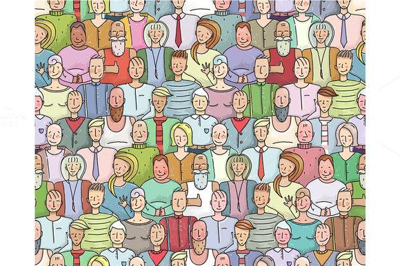Smiling People Crowd Pattern