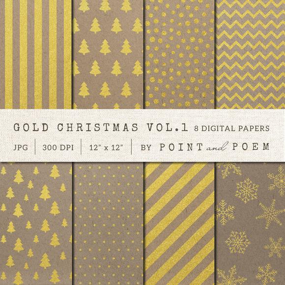 Christmas Digital Paper Gold Kraft